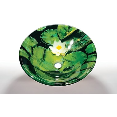 Legion Furniture Glass Circular Vessel Bathroom Sink; Lotus Pad
