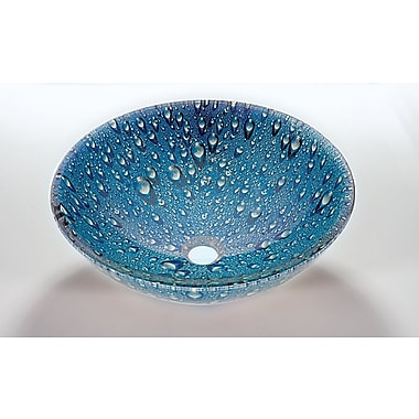 Legion Furniture Glass Circular Vessel Bathroom Sink; Blue green