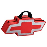 Go Boxes Bowtie Shaped Canvas Bag; Red with A Silver Border
