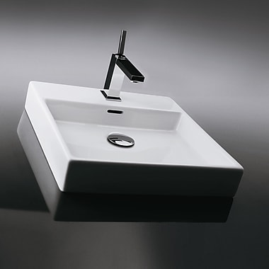 WS Bath Collections Plain Ceramic 18'' Wall Mount Bathroom Sink w/ Overflow; No Hole