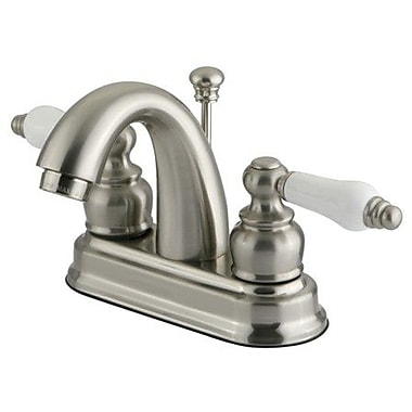 Elements of Design Linden Centerset Double Handle Bathroom Faucet w/ Drain Assembly; Satin Nickel