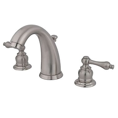 Elements of Design Widespread Bathroom Faucet w/ Double Metal Lever Handles; Satin Nickel
