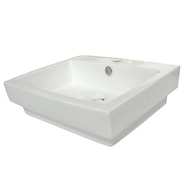 Elements of Design Plaza Ceramic 24'' Wall Mount Bathroom Sink w/ Overflow; White