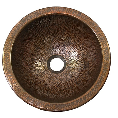 The Copper Factory Small Circular Undermount Bathroom Sink w/ Overflow; Antique Copper