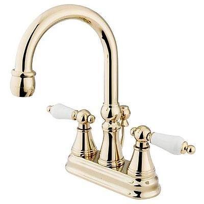 Kingston Brass Governor Centerset Bathroom Faucet w/ Brass Pop-Up Drain; Polished Brass