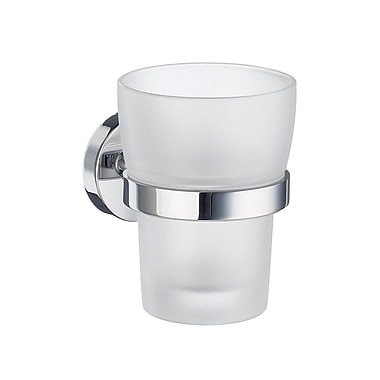 Smedbo Home Frosted Glass Tumbler and Tumbler Holder; Polished Chrome