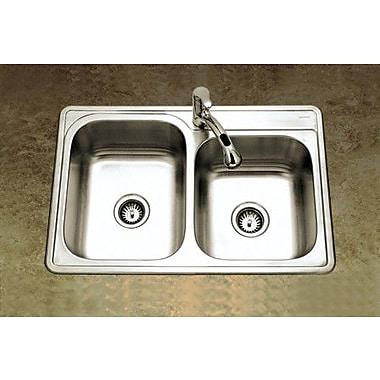 Houzer Glowtone 33'' x 22'' Topmount Double Bowl 20 Gauge Kitchen Sink w/ StoneGuard Undercoating
