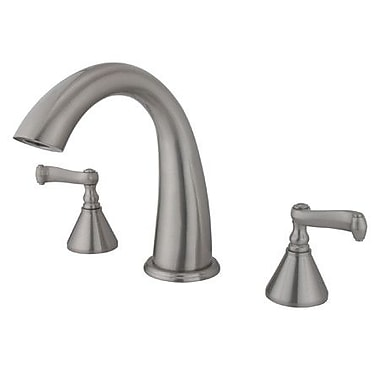 Elements of Design Double Handle Deck Mount Roman Tub Faucet Trim French Lever Handle; Satin Nickel