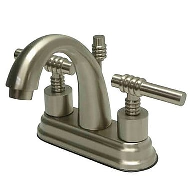 Elements of Design Milano Centerset Bathroom Faucet w/ Double Lever Handles; Satin Nickel