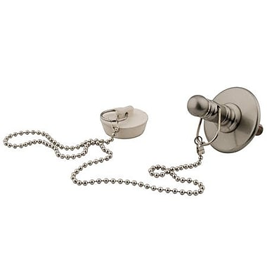 Elements of Design 3.25'' Tub chain and Stopper Bathroom Sink Drain; Satin Nickel