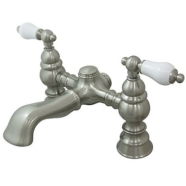 Elements of Design Hot Springs Double Handle Deck Mount Clawfoot Tub Faucet; Satin Nickel