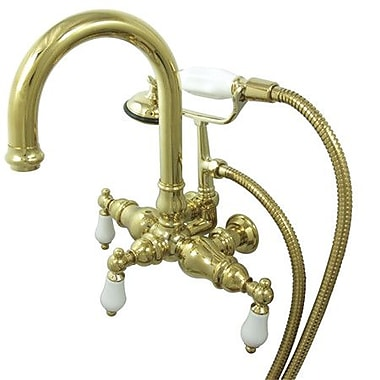 Elements of Design Hot Springs Double Handle Wall Mount Clawfoot Tub Faucet; Polished Brass