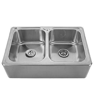 Whitehaus Collection Noah's 33'' x 22'' Front - Apron Double Bowl Drop In Kitchen Sink; No Hole