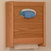 Wooden Mallet Combo Towel Dispenser and Glove/Tissue Holder; Light Oak