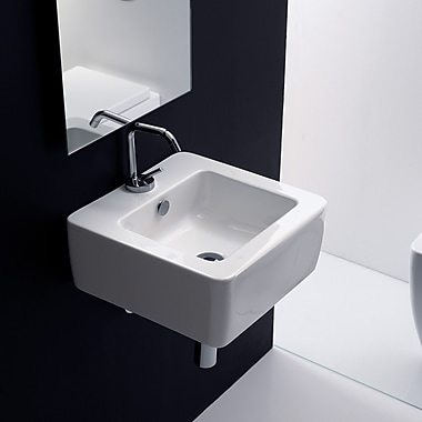 WS Bath Collections Ego Square Vessel Bathroom Sink w/ Overflow