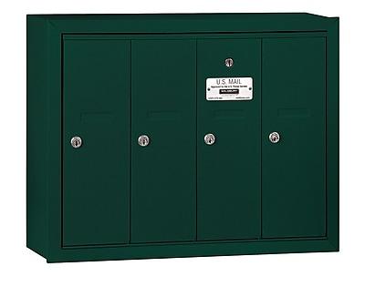Salsbury Industries 4 Door Front Load Vertical Mail Center; Green