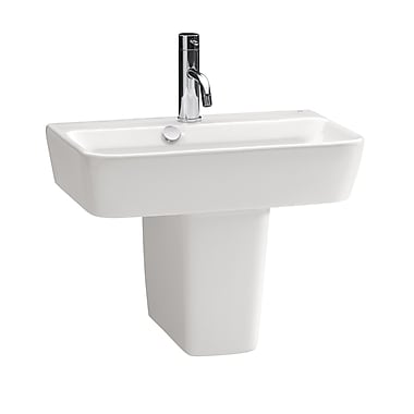 Bissonnet Emma Vitreous China 20'' Semi Pedestal Bathroom Sink w/ Overflow