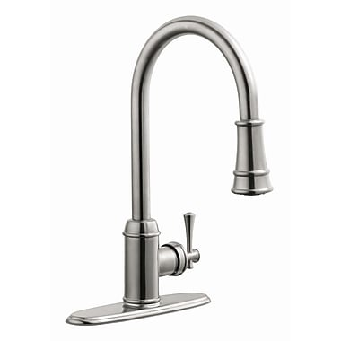 Design House Ironwood Single Handle Kitchen Faucet w/ Pullout Sprayer; Satin Nickel