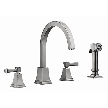 Design House Torino Double Handle Kitchen Faucet w/ Sprayer; Satin Nickel