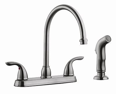 Design House Ashland Double Handle Kitchen Faucet w/ Side Spray; Satin Nickel