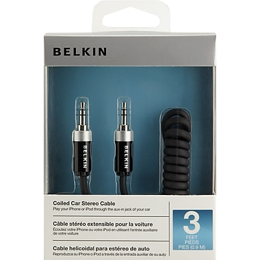 Belkin® 3' Mini-Phone Audio Coiled Car Stereo Cable, Black