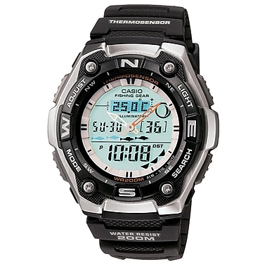 Casio® AQW101-1AV Men's Analog/Digital Fishing Gear Timer Sports Wrist Watch, Black