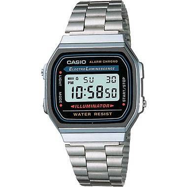 Casio® A168W-1 Men's Classic Digital Electro Luminescence Bracelet Wrist Watch, Silver