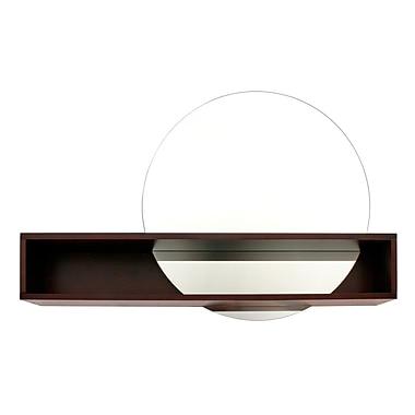 Nexxt - Miroir rond avec tablette d'intersection de la série Tate, 24 po x 36 po x 6 po, espresso