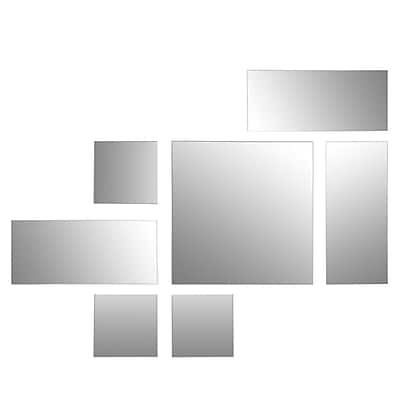 Nexxt FN19623-2INT Multiple Size Rectangle/Square Frameless Wall Mirror, Set of 7