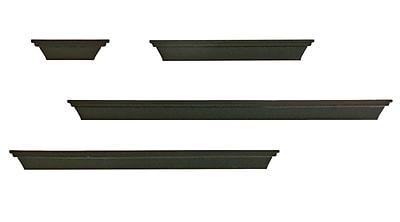 Nexxt PN18534-2INT Set of 4 Black Wooden Wall Ledge