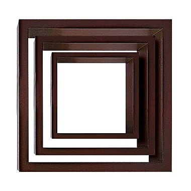 Nexxt Cubbi Wood Wall Shelves, Set of 3, Java wood