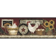Inspired By Color™ Country & Lodge Hen and Rooster Border, Yellow With Weathered White