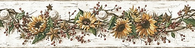 Inspired By Color™ Country & Lodge Sunflower Border, Gray With Gold/Red Burgundy/Brown