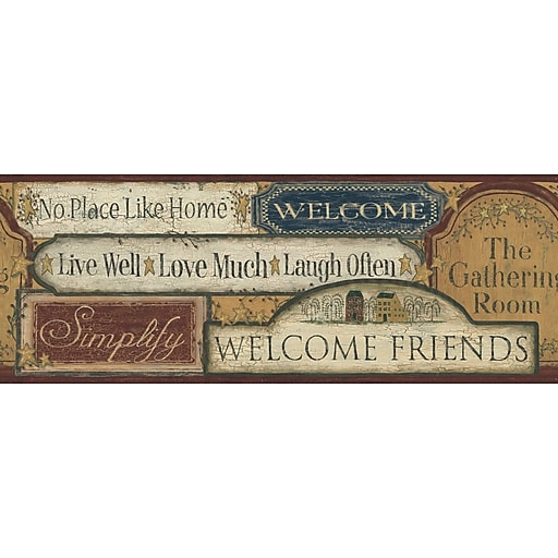 Inspired By Color™ Country & Lodge Country Signs Border, Black With Red/Tan/Beige/Dark Yellow