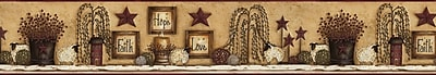 Inspired By Color™ Country & Lodge Faith Hope Love Shelf Border, Brown With Red/Black
