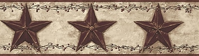 Inspired By Color™ Country & Lodge Barn Star & Berry Border, Khaki With Burgundy