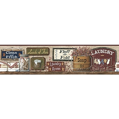 Inspired By Color™ Country & Lodge Laundry Border, Tan With Red Burgundy/Green