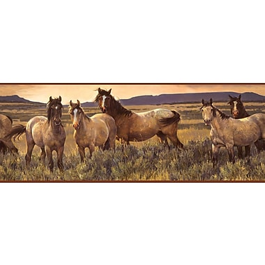 Inspired By Color™ Country & Lodge Grey Horse Border, Tan With Gray/Brown Band