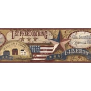 Inspired By Color™ Country & Lodge Americana Border, Burgundy With Off White