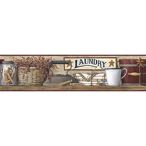 Inspired by Color™ Country & Lodge Laundry Border, Burgundy Band With Khaki