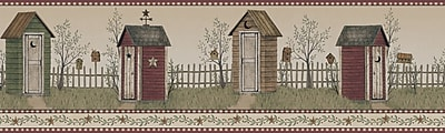 Inspired By Color™ Country & Lodge Country Outhouse Border, Brown With Red/Green