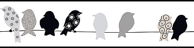 Inspired by Color™ Borders Bird On A Wire Border, Black With Gray/Tan