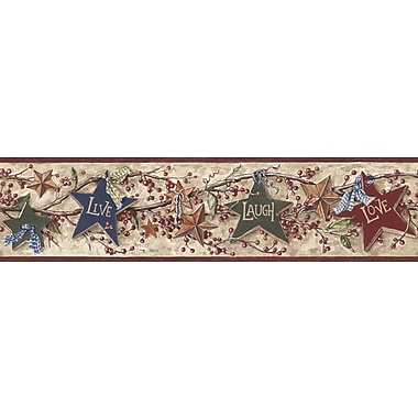 Inspired By Color™ Borders Star Berry Border, Tan With Red