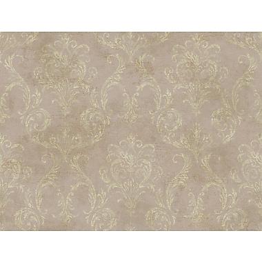 Inspired By Color™ Pink & Purple Delia Damask Raised Wallpaper, Purple With Gold Metallic/White