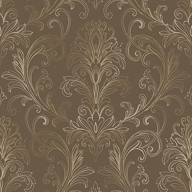 Inspired By Color™ Metallics Linear Damask Wallpaper, Dark Brown With Deep Gold Pearl Metallic