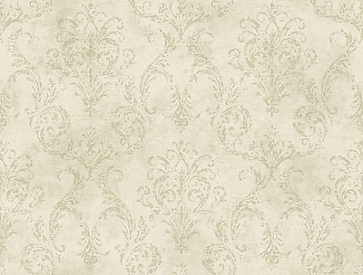 Inspired By Color™ Beige Delia Damask Raised Wallpaper, Off White With Tan/Gray/White