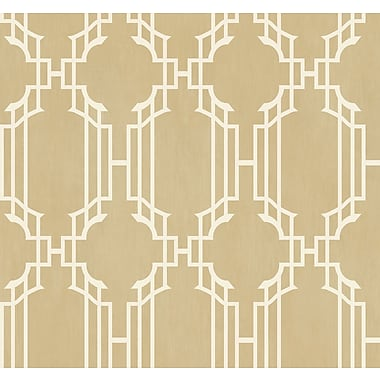 Inspired By Color™ Orange & Yellow Trellis W/Strie Wallpaper, Gold With Yellow/White