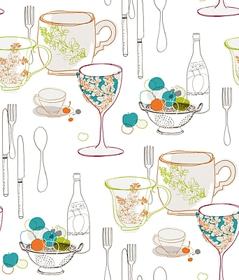 Inspired by Color™ Green Graphic Tableware Wallpaper, White With Orange/Brown/Teal Blue