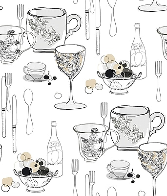 Inspired by Color™ Black & White Graphic Tableware Wallpaper, White With Black/Gray/Tan