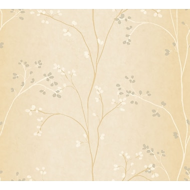 Inspired By Color™ Beige Vertical Blossoms Wallpaper, Off White With Gold Pearl Metallic